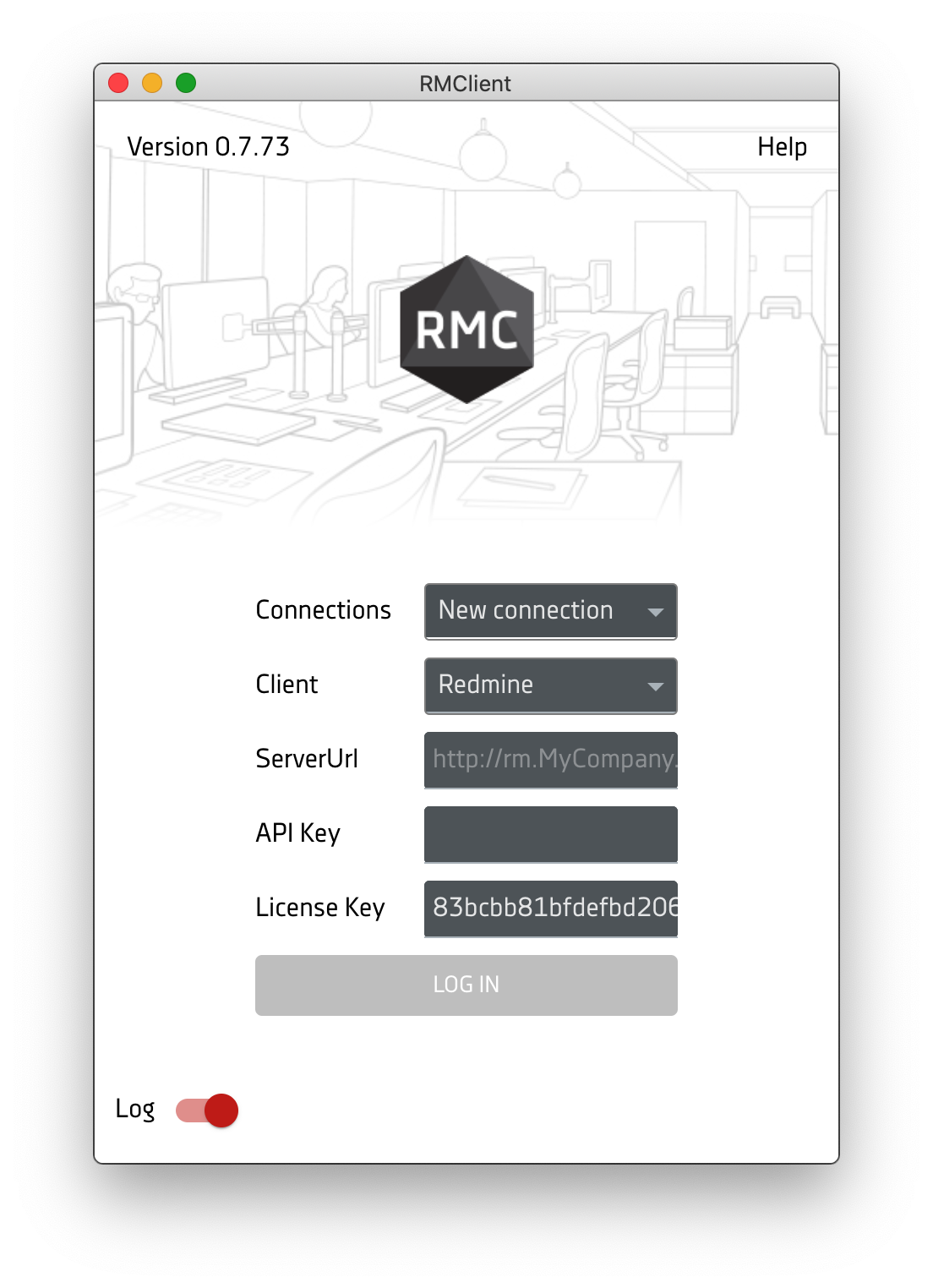 RMClient - Login screen