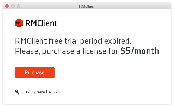 RMClient - Trial period expired