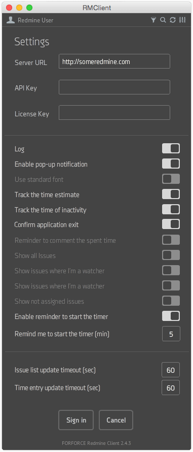 RMClient - Settings screen